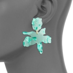 Lele Sadoughi small paper lily earrings in teal